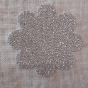 Argento   Fustellato Fiore Velluto Glitter